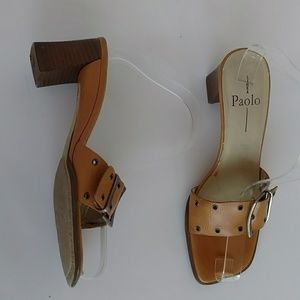 Linea Paolo 7 N Brown Buckle Square Heel Slides
